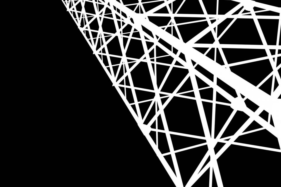 Close up graphic of a cell phone tower in black and white