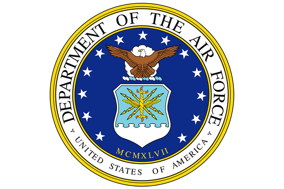 gold, white, and blueUnited States of America Department of the Air Force emblem with poised eagle and 13 white starts of the