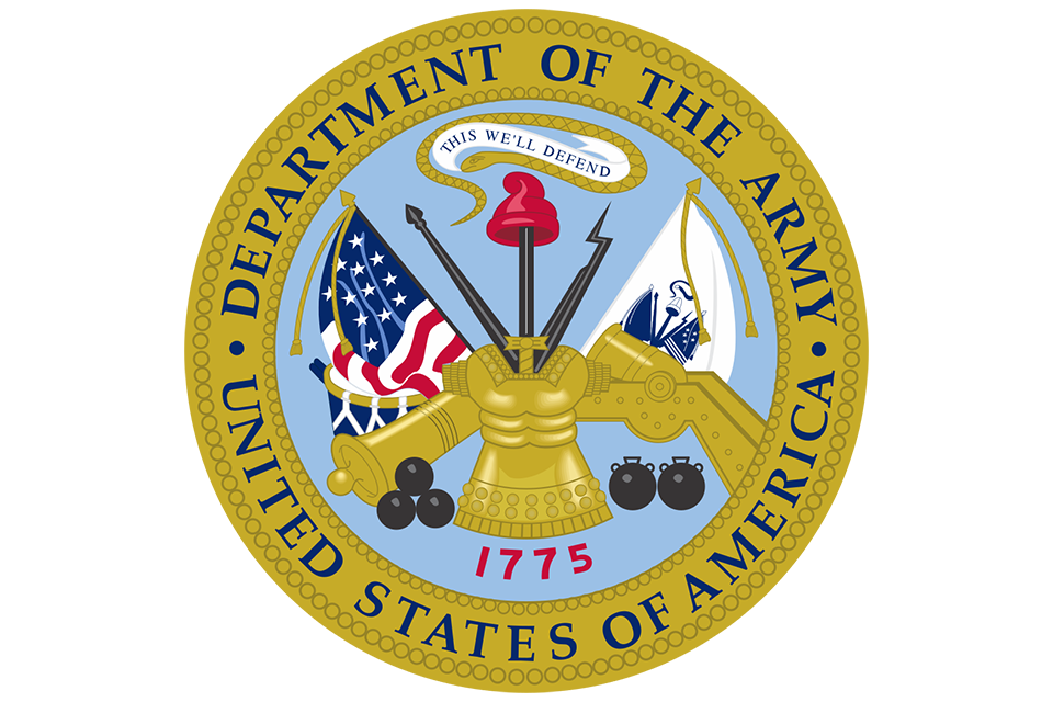 United States of America Department of the Army gold emblem with two flags, golden cannon, and small battalion drum
